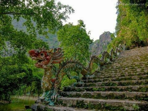 Base of the steps leading to the viewpiont, at Mua Caves, in Ninh Binh, Vietnam, on September 2015