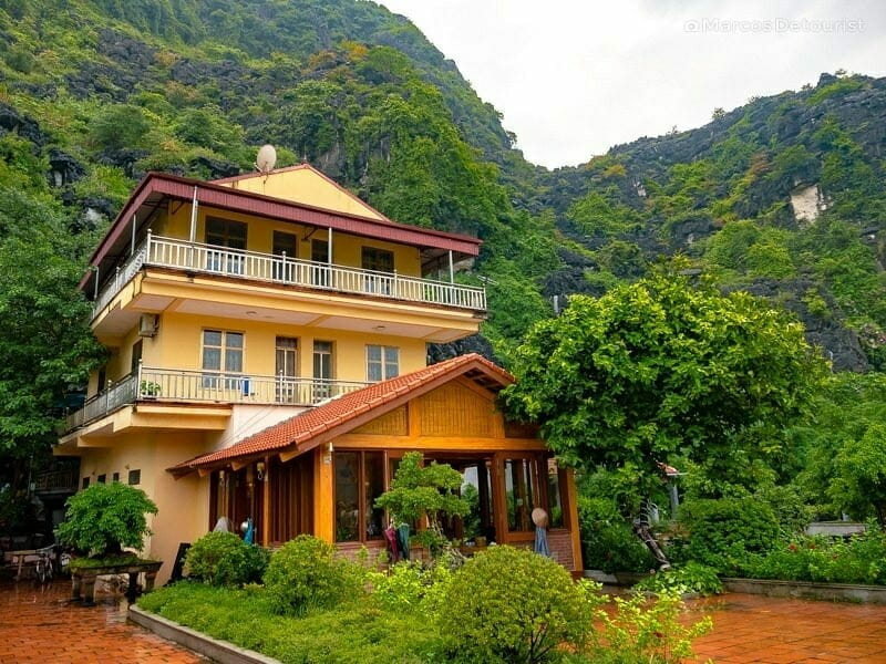 Reception building at Mua Caves Eco Lodge, my home in Ninh Binh for 3 days, in Vietnam, on September 2015