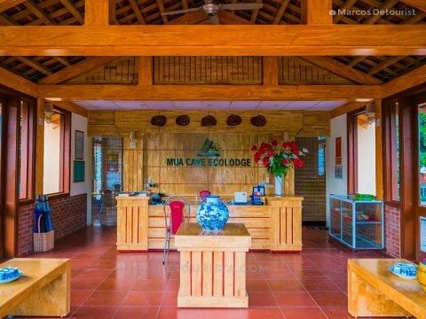 Reception desk, at Mua Caves Eco Lodge, in Ninh Binh, Vietnam, on September 2015
