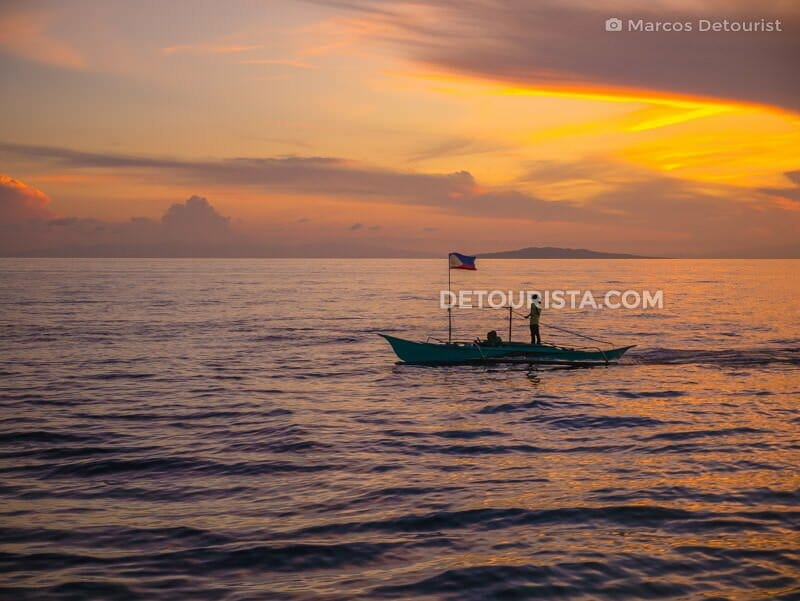 Sunrise ferry crossing to Seco Island, Tibiao, Antique, Philippines