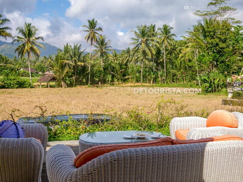 Relaxing countryside view from Stupa Restaurant by Plataran, near Borobudur in Yogyakarta, Indonesia.