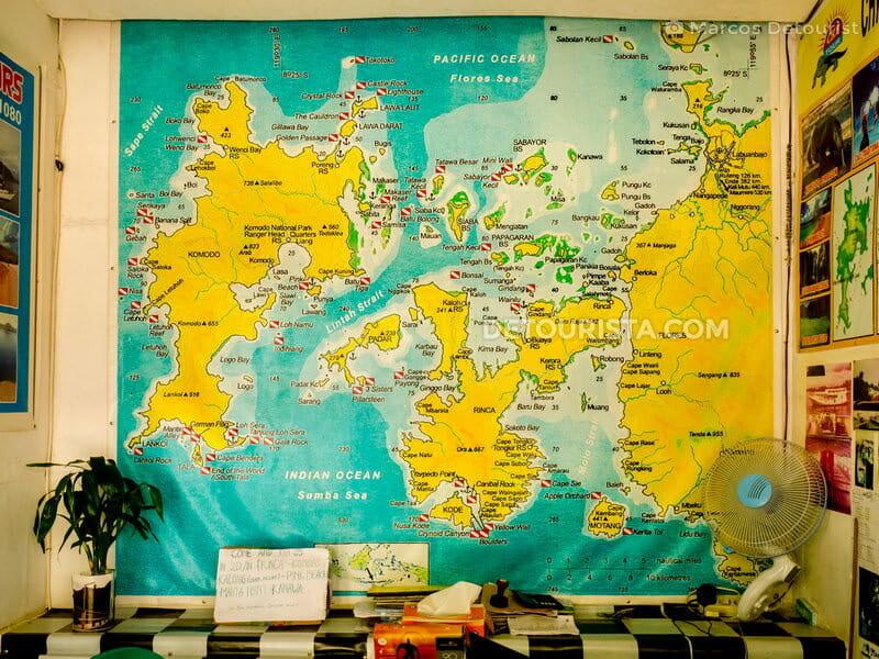 Map of Komodo National Park in Labuan Bajo East Nusa Tenggara, Indonesia