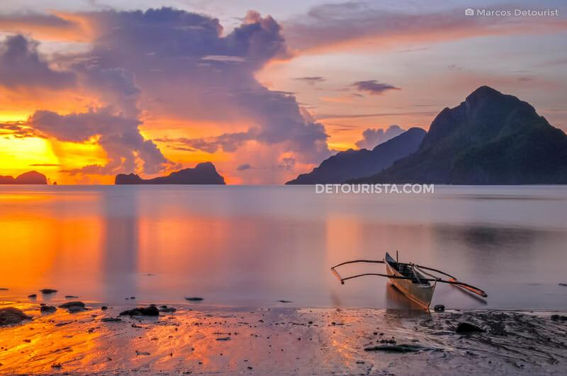 Sunset from Corong-Corong Beach in El Nido, Palawan, Philippines
