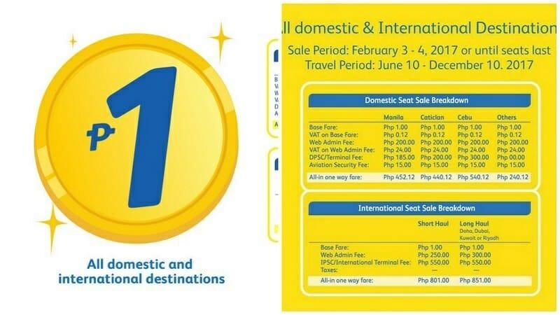 Cebu Pacific Air – 1 Piso Fare on ALL Domestic and International Flights – 2017