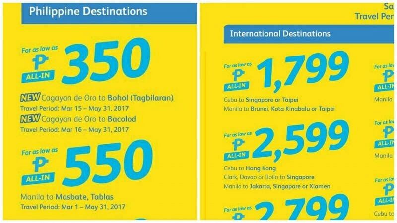 Cebu Pacific Valentines Promo – PHP350 ALL-IN on Domestic & International Flights