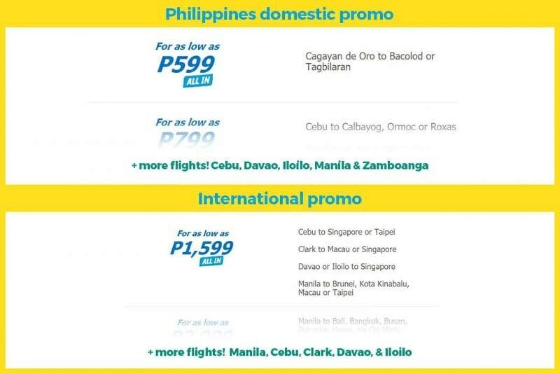 Cebu Pacific P599 Sale for September, October, November & December 2017 Travel