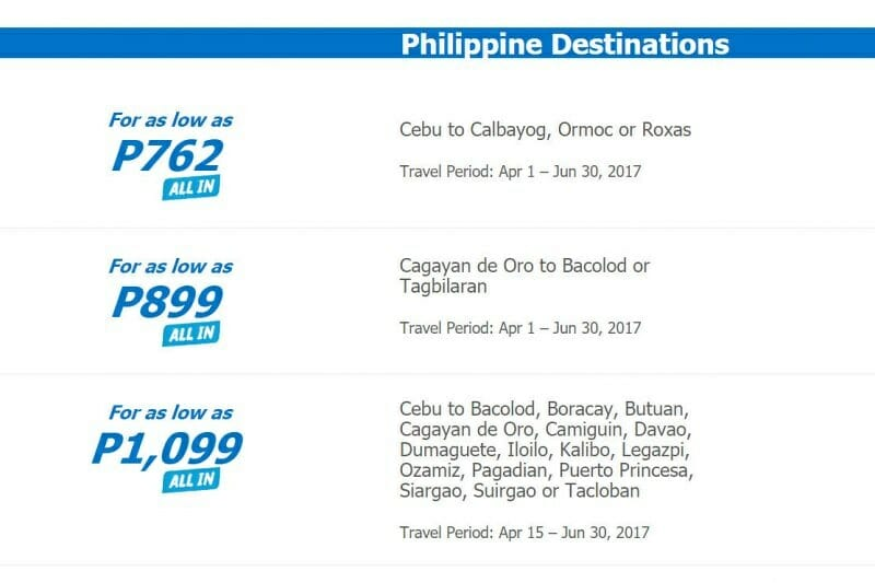 Cebu Pacific Sale for April, May, June, July – Fares from P762 ALL-IN