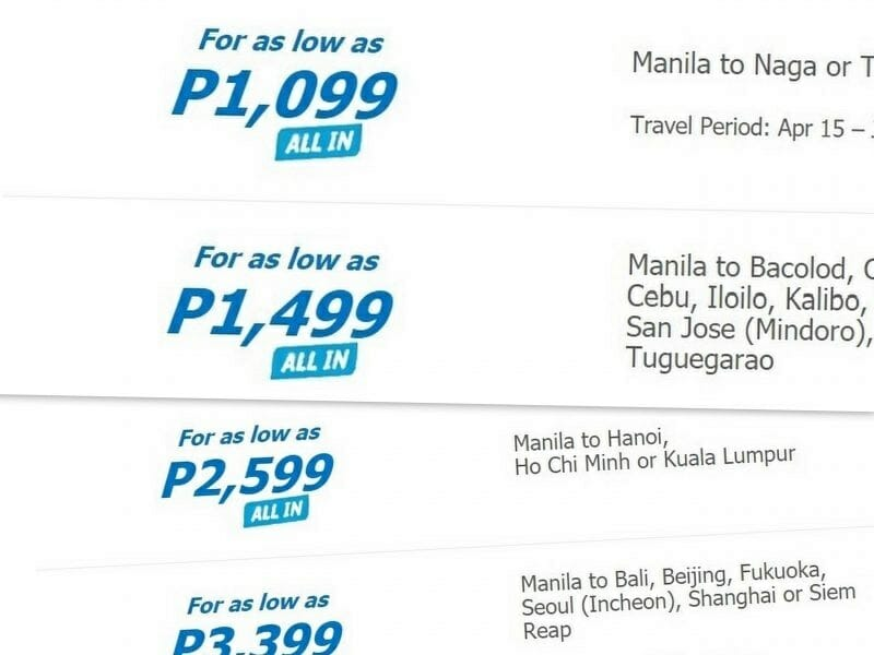 Cebu Pacific Flights Sale for May, June, July – Fares from P1,099 ALL-IN