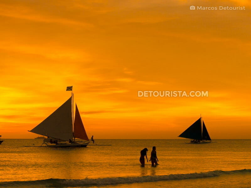 Sunset at White Beach, in Boracay, Malay, Aklan, Philippines