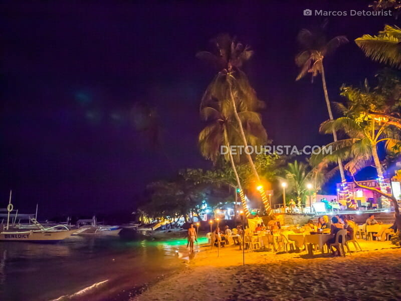 Alona Beach at night, in Panglao, Bohol, Philippines