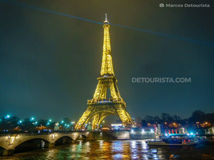 Eiffel Tower view from Seine River, in Paris, France