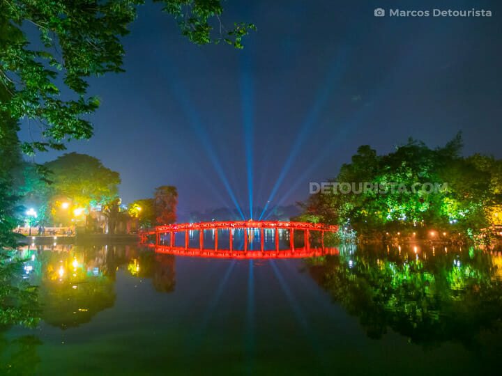 Hoan Kiem Lake at Night in Hanoi, Vietnam