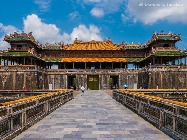 Cua Ngo Mon (gate), the main tourist entrance, at the south side of the Imperial City in Hue, Vietnam
