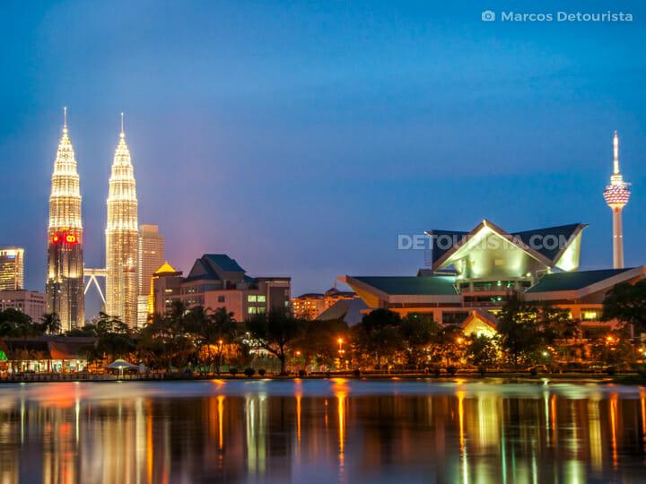 Kuala Lumput Skyline view from Titiwangsa  Lake, at dusk, in Kuala Lumpur, Malaysia