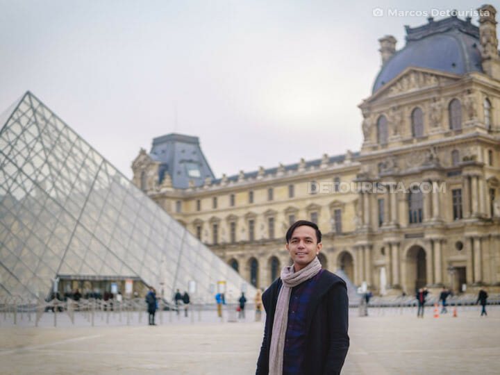 Marcos at the Louvre Pyramid, in Paris