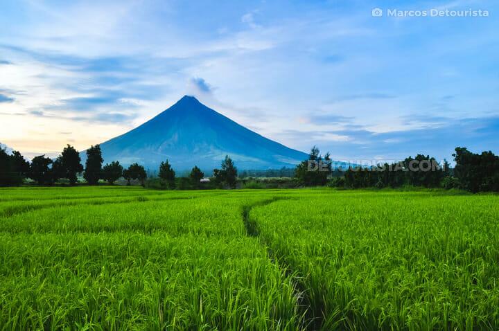 Mayon Volcano view near Cagsawa ruins in Daraga, near Legazpi Ci