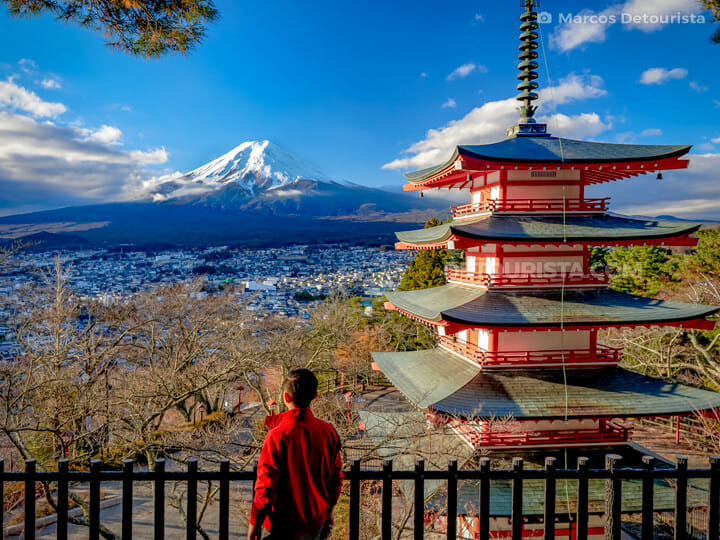 Mount Fuji view from Chureito Pagoda, near Lake Kawaguchi in Yam
