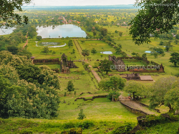 Overlooking view at Vat Phou temple), in Champasak, Laos