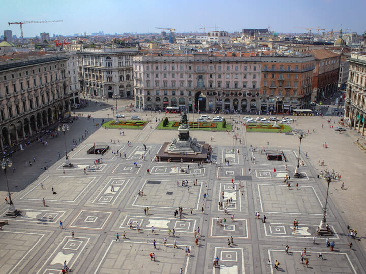 Piazza del Duomo view from Milan Cathedral, in Milan, Italy