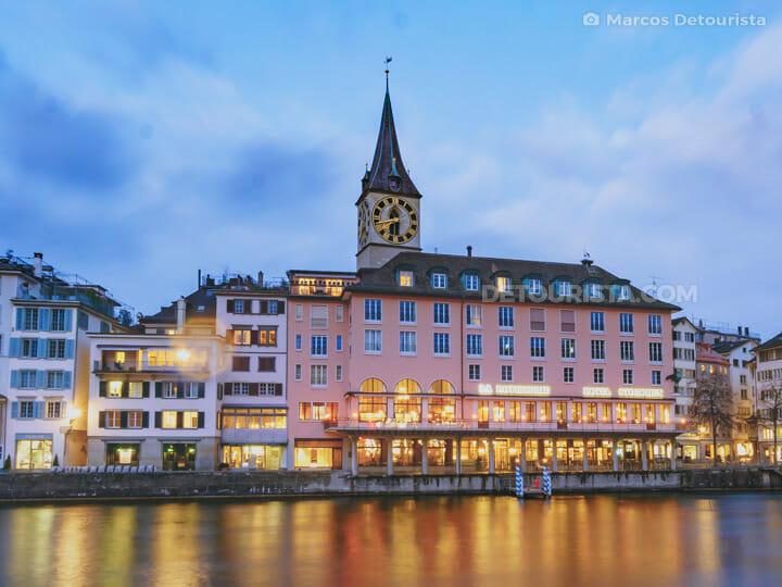 St. Peter Pfarrhaus (church) & Limmat Riverside in Zurich, Switzerland