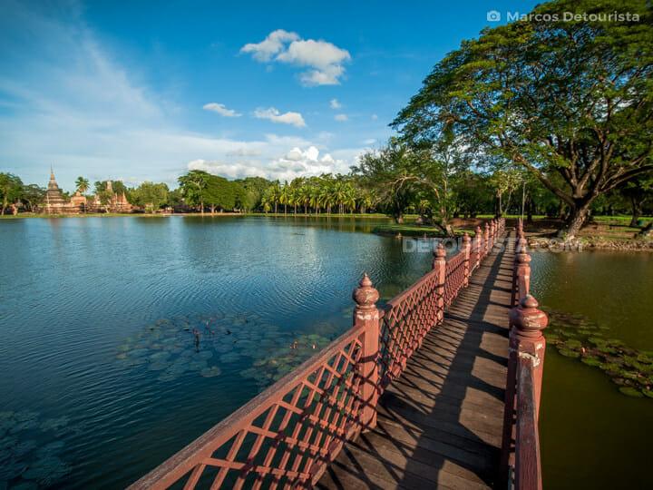 Sukhothai Historical Park wooden bridge, in Sukhothai, Thailand