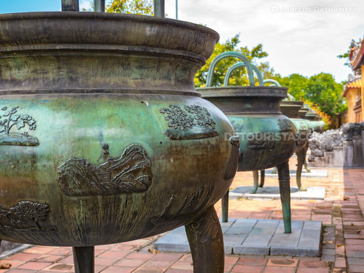 Nine dynastic urns at The To Mieu (temple) in Hue Imperial City (Forbidden Purple City), Vietnam