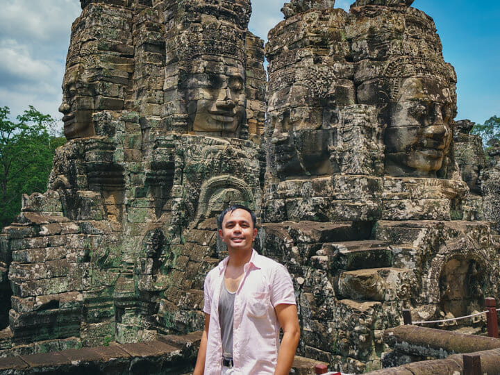 Marcos at Bayon Temple in Siem Reap, Cambodia