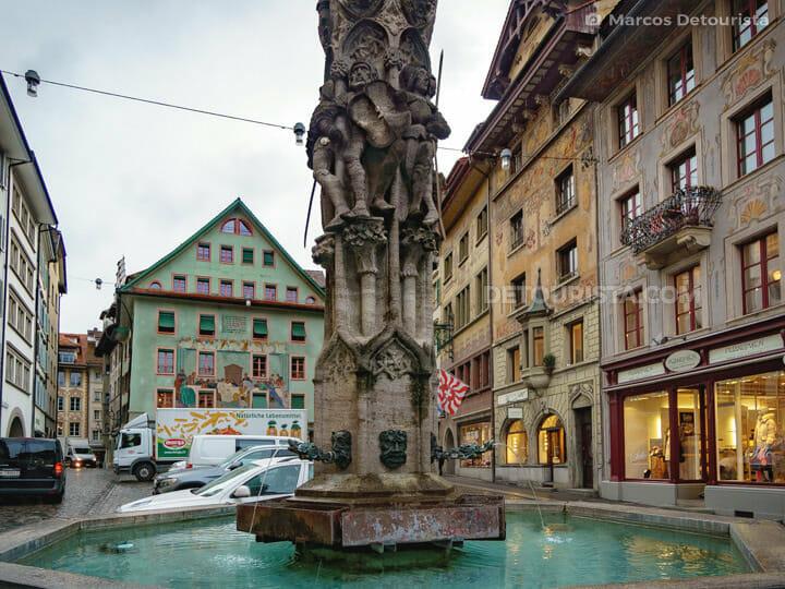 Weinmarkt fountain in the Baroque Square of Lucerne, Switzerland