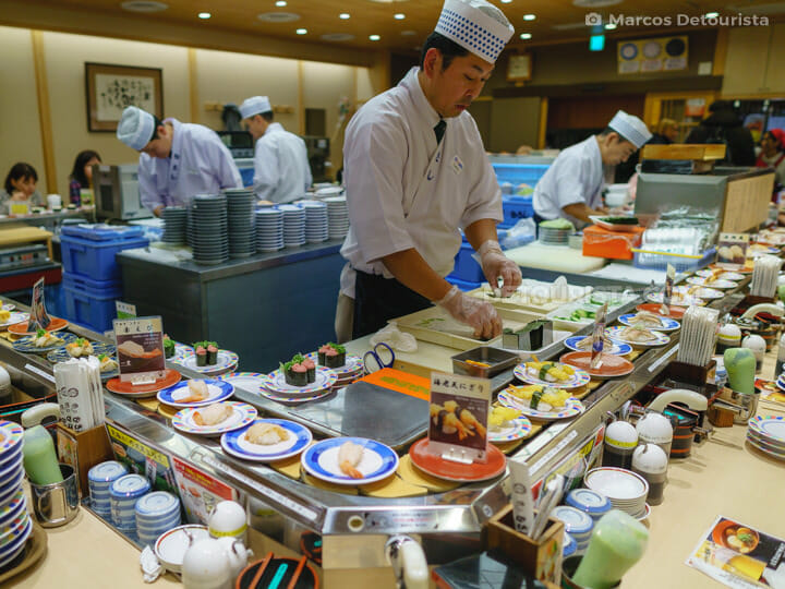 Conveyor Belt Sushi at Sushi no Musashi, in Kyoto Station, Kyoto