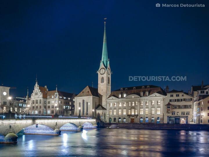 Fraumünster Church & Münsterbrücke (Minister Bridge), in Zurich, Switzerland