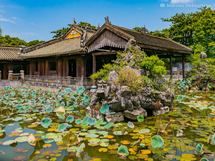 Lotus pond and rockeries near Ta Tra Building at Cung Dien Tho (residence) in Hue Imperial City (Forbidden Purple City), Vietnam