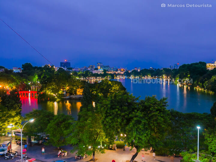 Overlooking Hoan Kiem Lake, in Old Quarter, Hanoi, Vietnam
