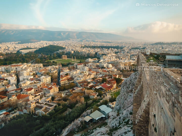 Acropolis Hill view overlooking Athens, Greece