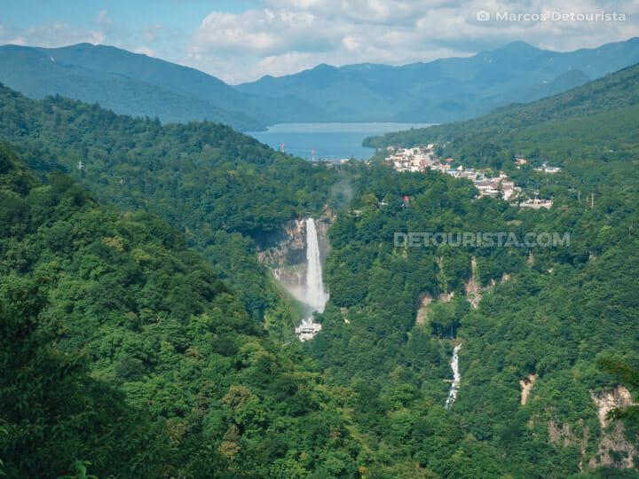 Kegon Falls & Chuzenji Lake from Akechidaira Viewpoint, in Nikko, Japan