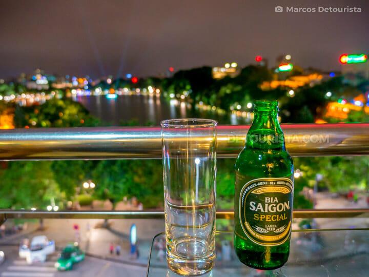 Bia Saigon with a view of Hoan Kiem Lake, in Hanoi, Vietnam