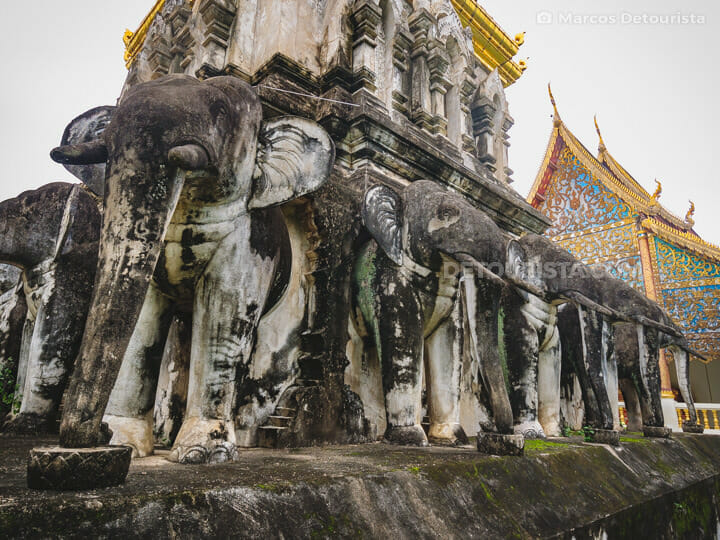 Elephant sculptures at Wat Chiang Man, the oldest temple in the