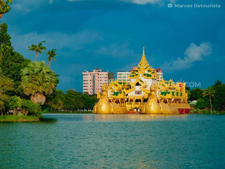 Karaweik Royal Palace at Kandawgyi Lake in Yangon, Burma