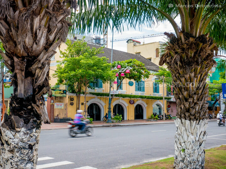 Old French-colonial Building along the riverside in Da Nang, Vietnam