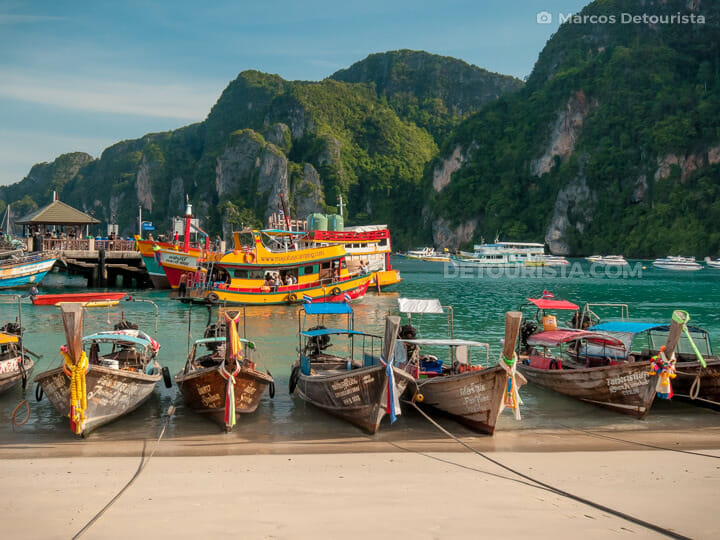 Colorful long tail boats docked in Ko Phi Phi Don (big island), Krabi, Thailand