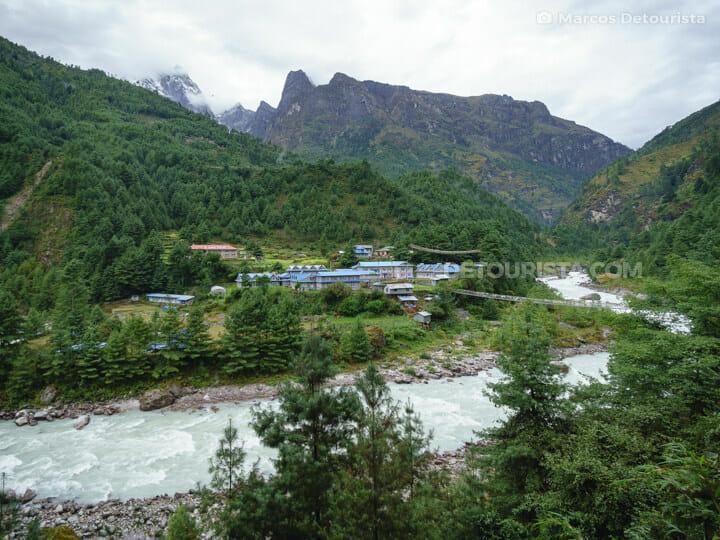 View of Zamphuti village near Phakding