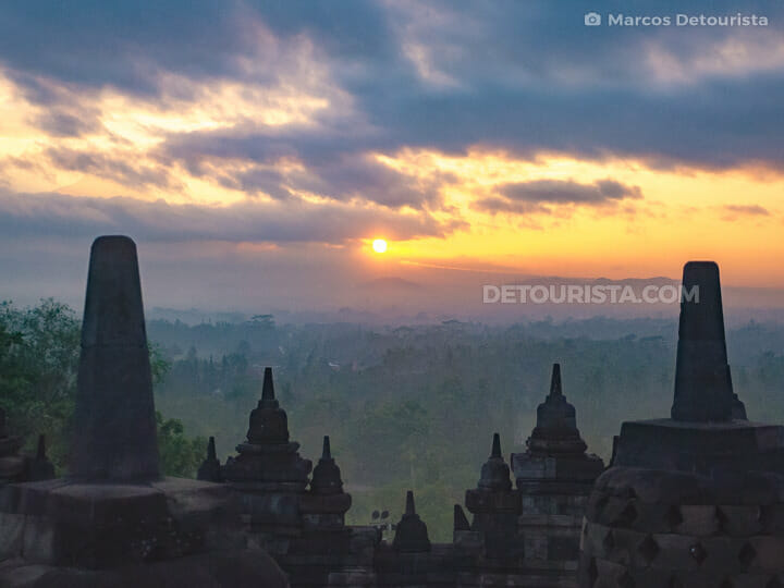Borobudur Temple sunrise view, near Yogyakarta, Java, Indonesia