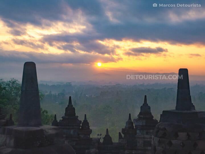 Borobudur Temple sunrise view, near Yogyakarta, Java, Indonesia
