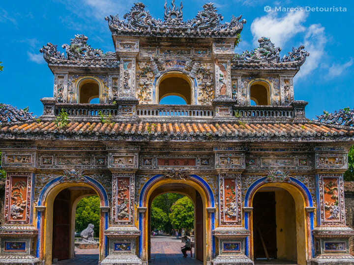 Cua Hien Nhon, the main tourist exit gate, at the west side of Hue Imperial City (Forbidden Purple City), Vietnam