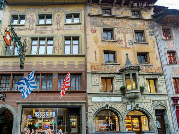Painted Buildings in Lucerne Old Town, Switzerland