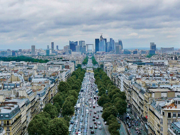 Paris Skyline and La Defense view from Arc de Triomphe, in Paris