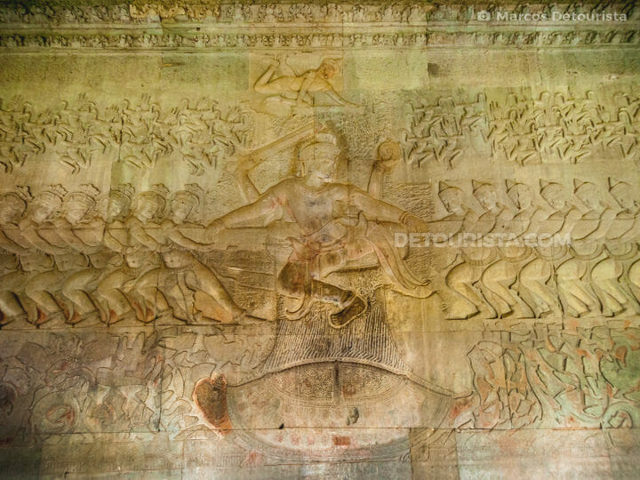 Angkor Wat wall relief - The Churning of the Ocean of Milk, in Siem Reap, Cambodia