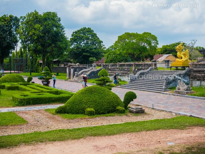Garden with turtle topiary in Hue Imperial City (Forbidden Purple City), Vietnam