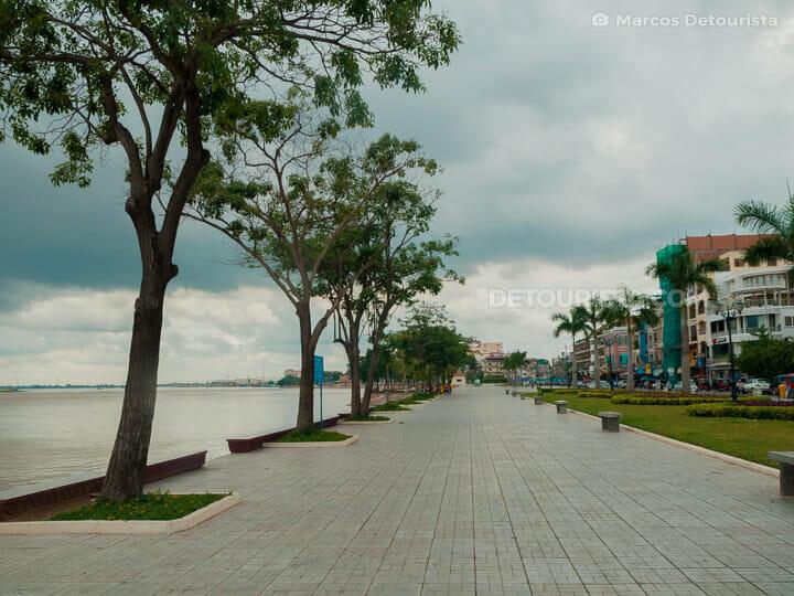 Mekong River promenade, in Phnom Penh, Cambodia