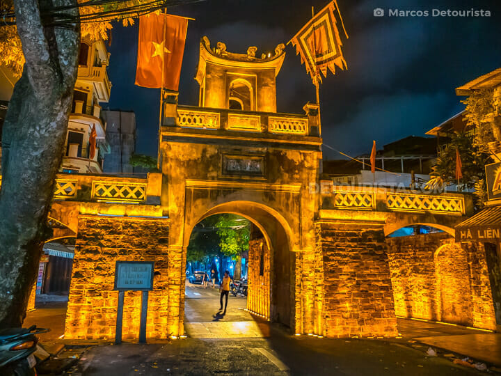 Old City Gate at night, in Old Quarter, Hanoi, Vietnam