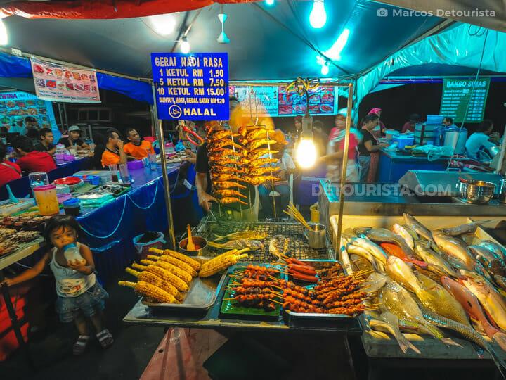 Seafood stalls at Kota Kinabalu Waterfront, in Kota Kinabalu, Sa